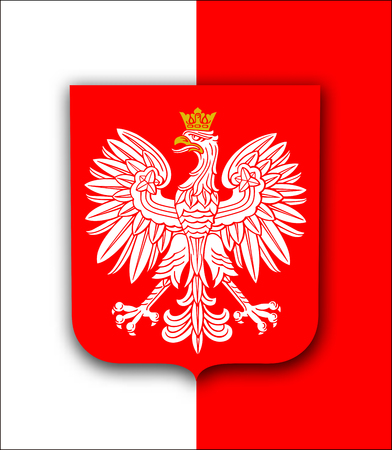 Poland flag with white royal eagle, coat of arms of Poland, vector patriotic background