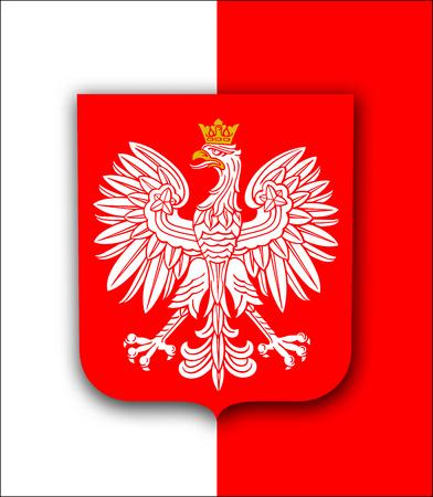 Polska flaga z białym orłem królewskim, herb Polski, patriotyczne tło wektor Ilustracje wektorowe