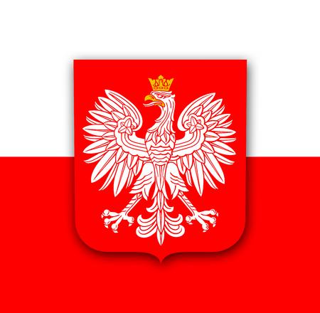Polen Flagge mit weißem königlichen Adler, Wappen von Polen, Vektor patriotischen Hintergrund