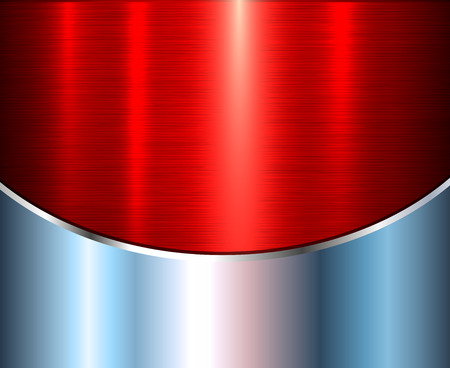 Background silver metallic with red brushed metal shiny texture, vector illustration.