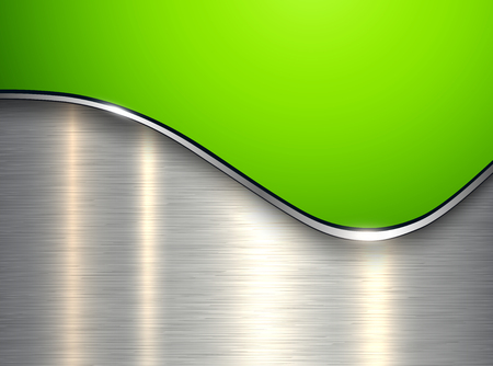 Green metallic background, elegant with wave and brushed metal texture, vector illustration. Illustration