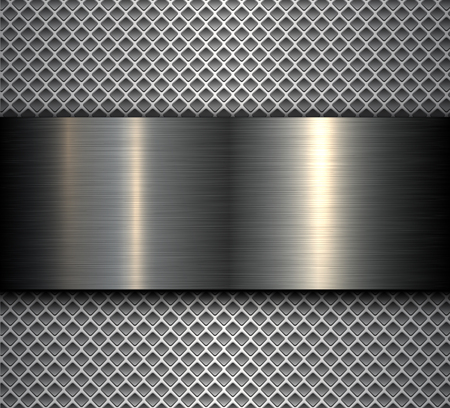 Metal background with shiny metallic banner over perforated background, vector design.