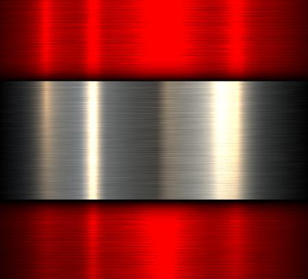 Metal background, red brushed metallic texture, vector design.