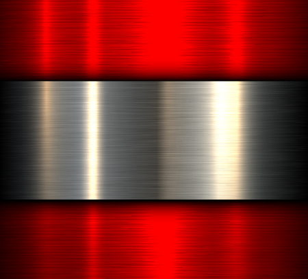 Metal background, red brushed metallic texture, vector design.