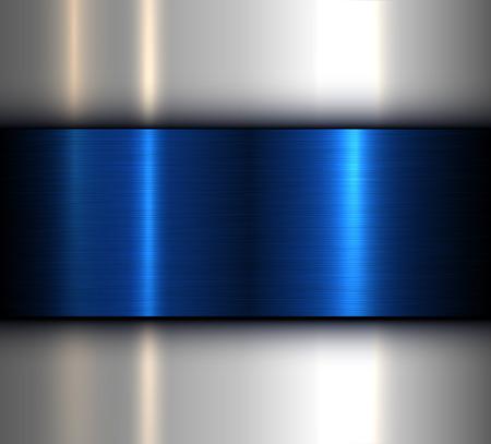 Metal background, blue brushed metallic texture, vector design. Stock Vector - 104493656