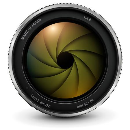 Camera photo lens with shutter, vector illustration. Illustration