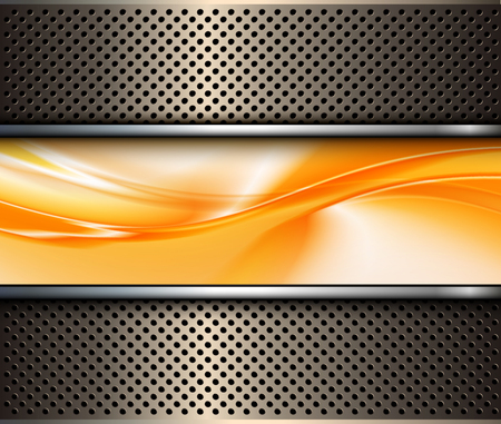 Abstract 3D metallic background, with orange abstract wave, vector illustration. Stock Illustratie