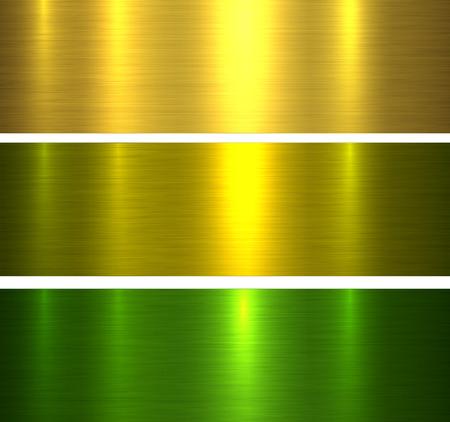 Metallbeschaffenheiten Gold und Grün gebürsteten metallischen Hintergrund, Vektorillustration.
