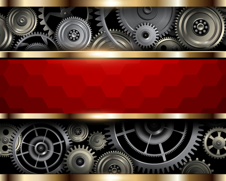 Hintergrundmetallzahnräder mit Sechseckmusterbanner, 3D-Vektorillustration.