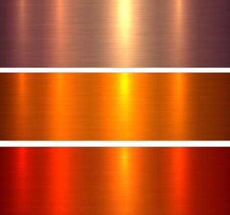 Textures métalliques fond métallique brossé rouge orange, illustration vectorielle.
