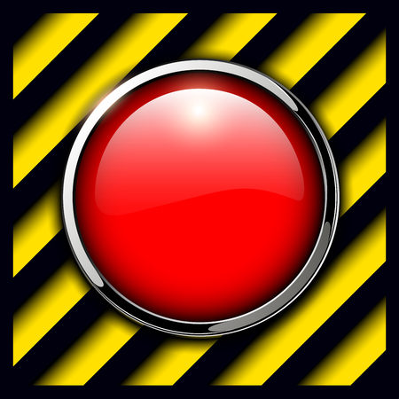 Red alarm button background, vector illustration.