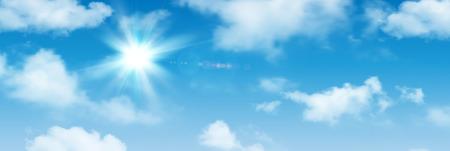 Fondo soleggiato, cielo blu con le nuvole bianche e sole, illustrazione di vettore.