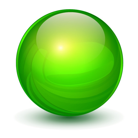 Glass sphere, green vector ball. Vettoriali