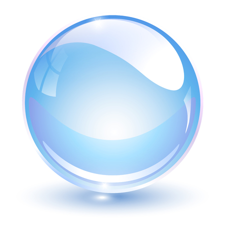 Glass sphere, light blue 3D vector ball.