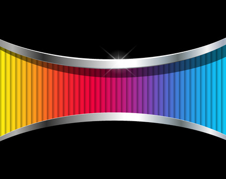 Abstract background with rainbow striped pattern, 3D vector design. Vectores