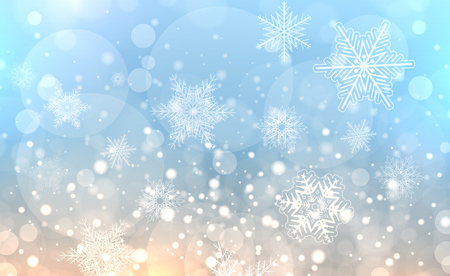 Christmas background with snowflakes, winter blue snow background, vector illustration