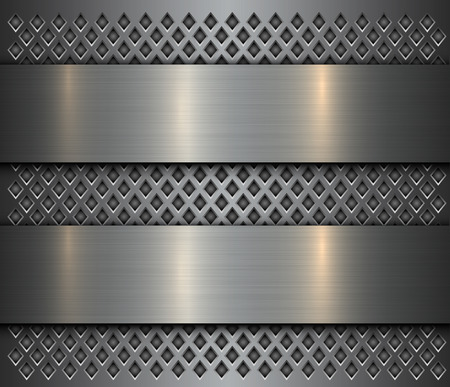 Metal background, steel brushed metallic banner over perforated texture, vector design.