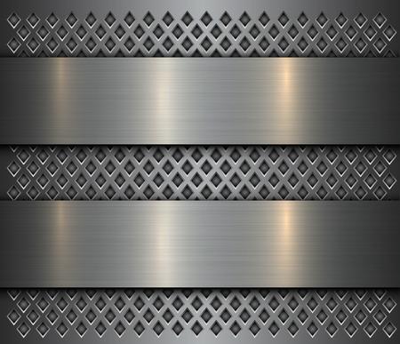 Metallhintergrund, gebürstetes Metallbanner des Stahls über perforierter Textur, Vektordesign.