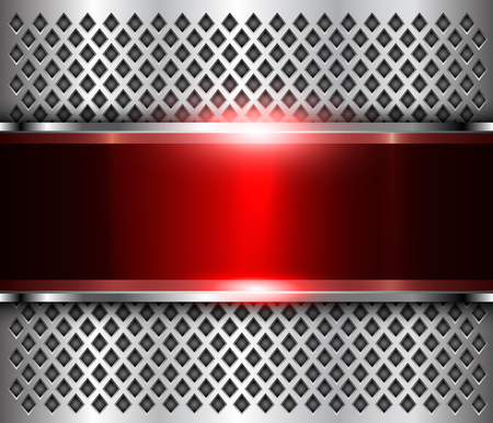 Metallic background silver red, polished steel texture, shiny vector design.