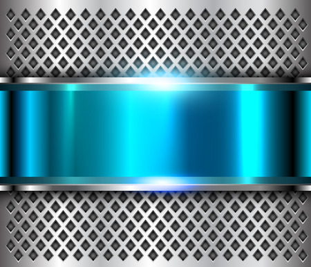 Metallic background silver blue, polished steel texture, shiny vector design. 向量圖像