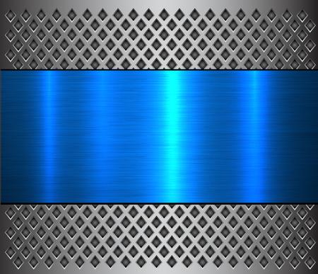 Metal background, steel brushed blue metallic banner over perforated texture, vector design. Ilustração Vetorial