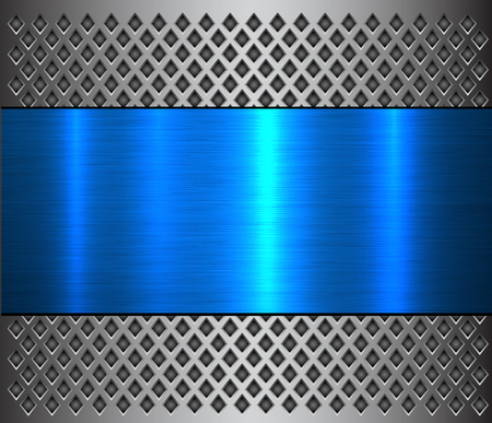 Metal background, steel brushed blue metallic banner over perforated texture, vector design.