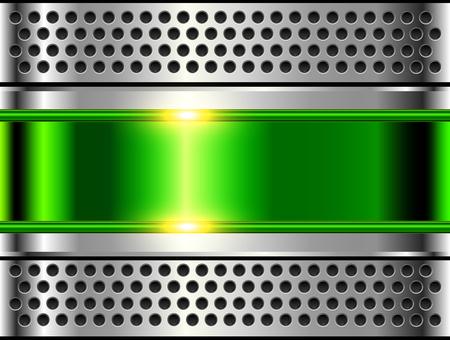 Fond métallique argent vert, texture en acier poli, conception de vecteur brillant.