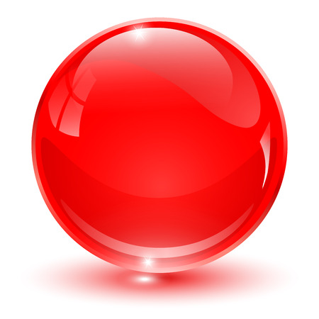 Glass sphere, red 3D vector ball.
