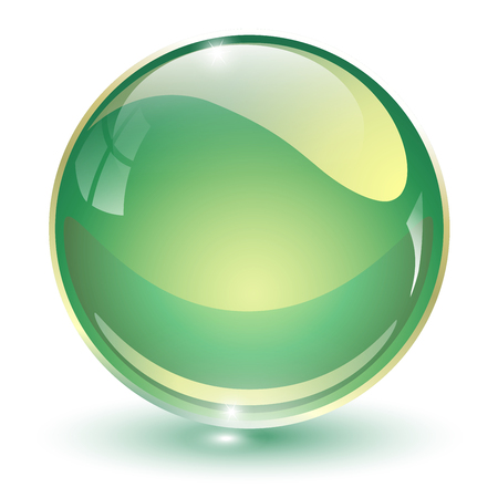 Glass sphere, green 3D vector ball.