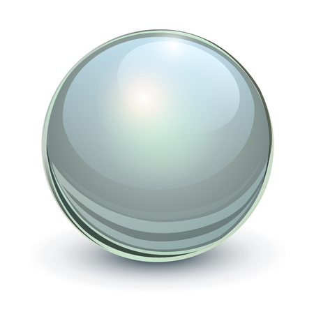 Glass sphere,grey 3D vector ball.