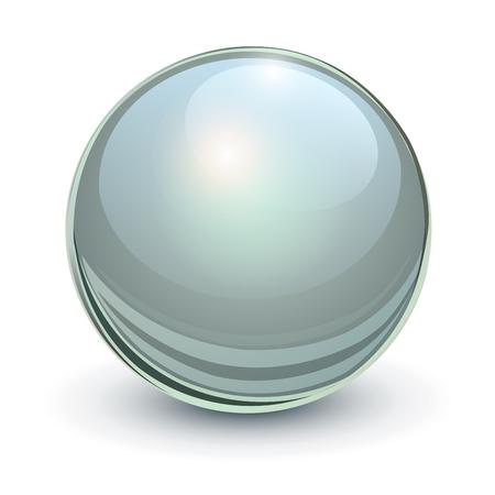 Glass sphere,grey 3D vector ball.
