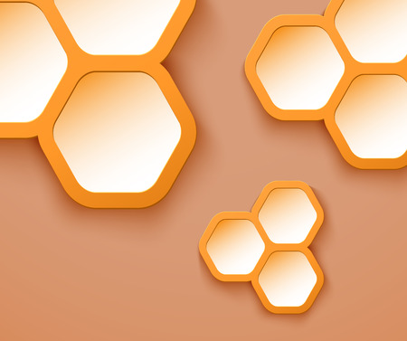 Orange background 3D hexagons shapes, vector illustration Illustration