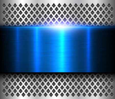 Metallic background silver blue, polished steel texture, shiny vector design. Illusztráció