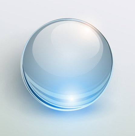 Glass blue ball, 3D shiny background, vector illustration