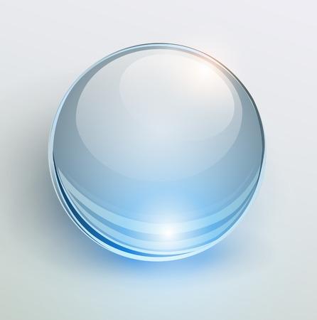 Glass blue ball, 3D shiny background, vector illustration