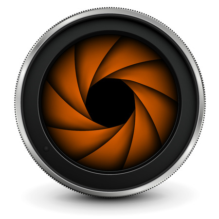 Camera photo lens with shutter, vector icon.