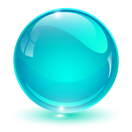 Glass sphere, blue 3D vector ball.