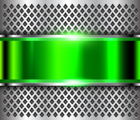 Metallic background silver green, polished steel texture, shiny vector design.