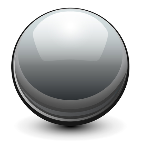 Glass sphere, grey 3D vector ball.
