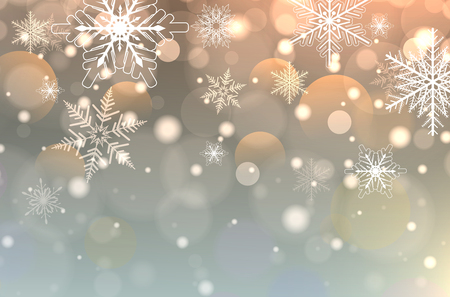 Christmas background with snowflakes, winter snow background, vector illustration
