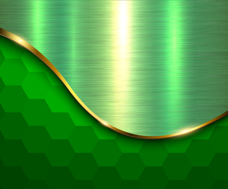 Green metallic background, hexagonal pattern with gold wave and metal texture, vector illustration.