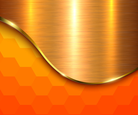 Orange metallic background, hexagonal pattern with gold wave and metal texture, vector illustration. Иллюстрация