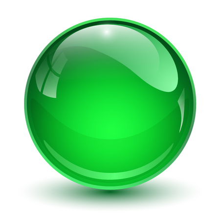Glass ball, green 3D vector sphere