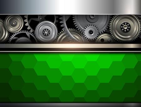 Fondo metálico con engranajes metálicos de tecnología, ilustración vectorial.