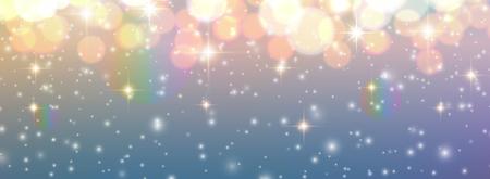 Christmas background, golden blurred lights, glittering bokeh background, vector illustration. Illustration