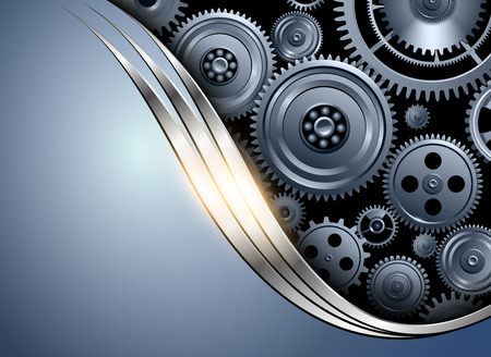 Abstract background metallic silver blue with gears, vector illustration.
