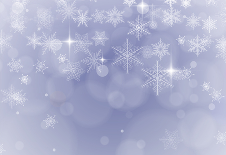 Christmas background with snowflakes, winter snowing vector background.