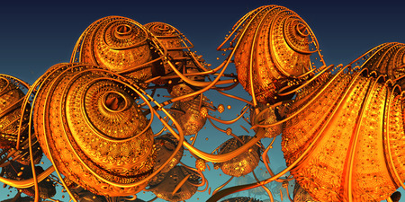Abstract background, fantastic gold structures, 3D render illustration. Stockfoto