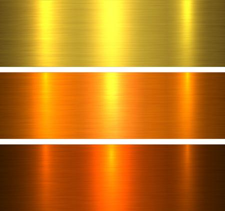 Metal textures gold, brushed metallic warm backgrounds vector illustration. Stock Vector - 116435793