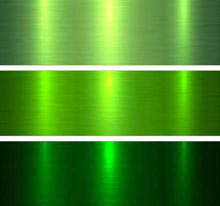 Metall Texturen grün, gebürstete metallische Hintergründe Vector Illustration.